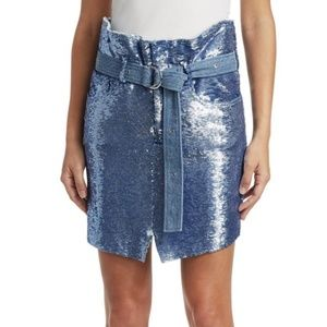 IRO Blue Sequin Natou Belted Skirt